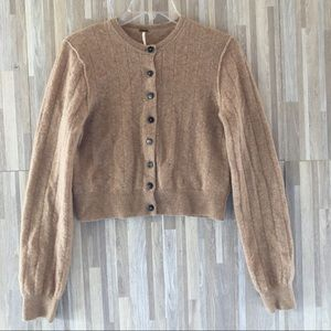 FREE PEOPLE Cashmere Tan Cropped Cardigan Small